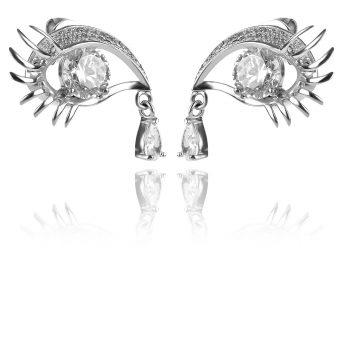 атрактивни сребърни обеци, око, цирконии, родиево покритие,