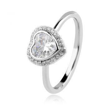 нежен сребърен пръстен, сърце, цирконии, родиево покритие,