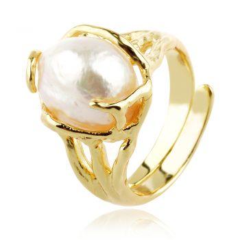 сребърен пръстен, перла Барок, жълта позлата,