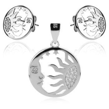 сребърен комплект, слънце и луна, цирконии, родиево покритие,