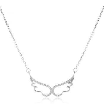 нежно сребърно колие, ангелски крила, цирконии, родиево покритие,