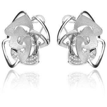 елегантни сребърни обеци, абстрактна форма, цирконии, матирано родиево покритие,