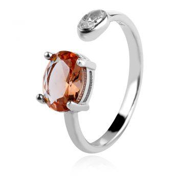 сребърен пръстен, султанит, циркон, родиево покритие