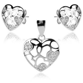 сребърен комплект, сърце, цирконии, родиево покритие,