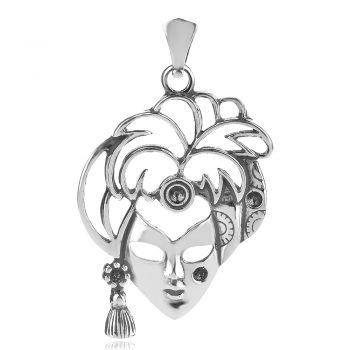 атрактивен сребърен медальон, карнавална маска, оксидирано сребро, ръчна изработка,