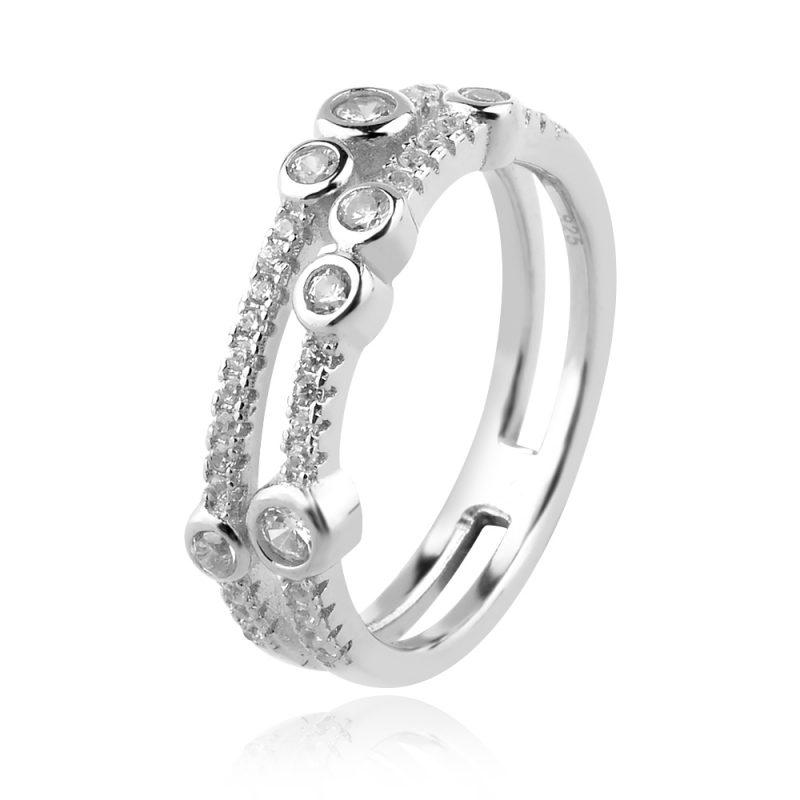 двоен сребърен пръстен, тип халка, цирконии, родиево покритие