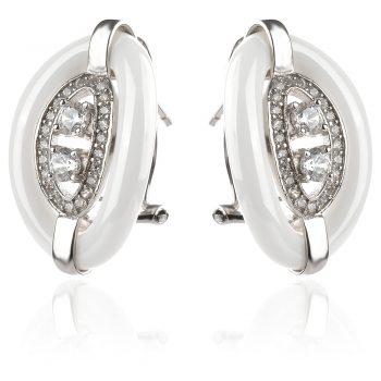 елегантни сребърни обеци, бяла керамика, цирконии, родиево покритие,