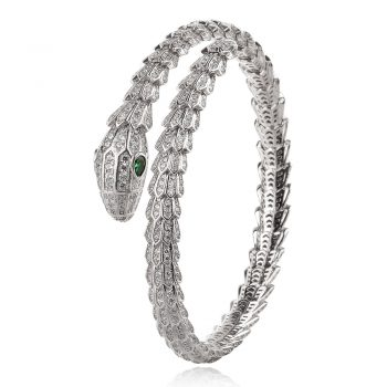 твърда сребърна гривна, по модел на Bvlgari, змия, цирконии, родиево покритие,