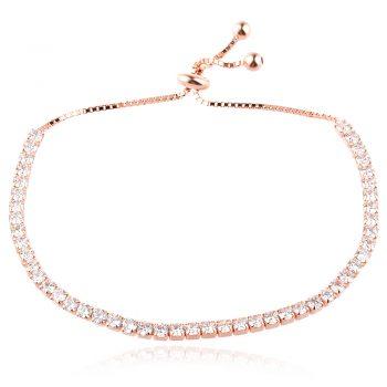 елегантна сребърна гривна, цирконии, розова позлата,