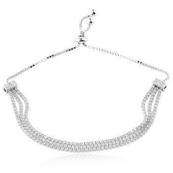елегантна сребърна гривна, три реда цирконии, родиево покритие,