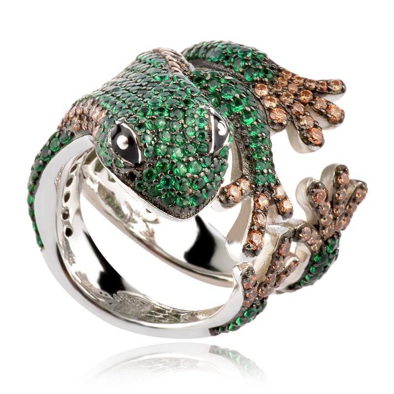 атрактивен сребърен пръстен, жабка, цветен цирконии, родиево покритие