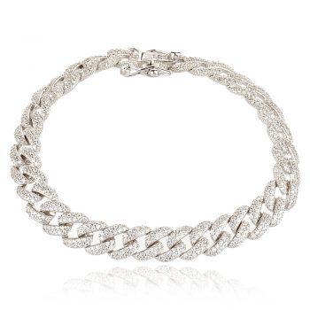 елегантна сребърна гривна, по модел на Cartier, плетка панцер, цирконии, родиево покритие,