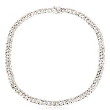 атрактивно сребърно колие, по модел на Cartier, цирконии, родиево покритие, плетка панцер,