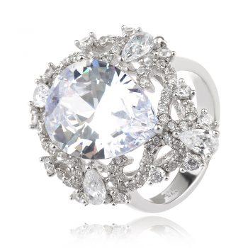 луксозен сребърен пръстен, цирконии, капка, родиево покритие,