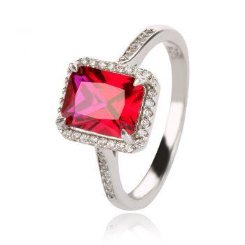 елегантен сребърен пръстен, бял и червен циркон, родиево покритие, официален повод