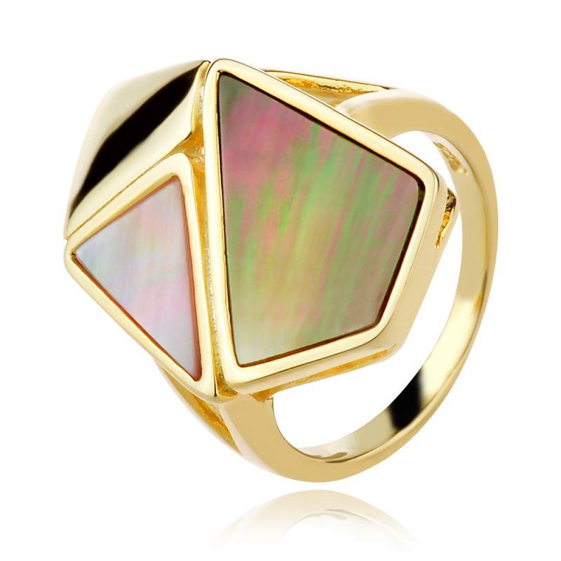 сребърен пръстен, кралски седеф, жълта позлата,