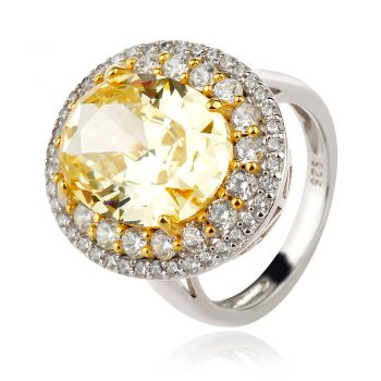 елегантен сребърен пръстен, бял и жълт циркон, родиево покритие,