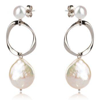 висящи сребърни обеци, перла Барок, родиево покритие, подходящи за повод