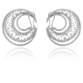 луксозни сребърни обеци, цирконии, родиево покритие, официални обеци, за повод