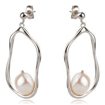 висящи атрактивни обеци, перла Барок, родиево покритие, подходящи за повод