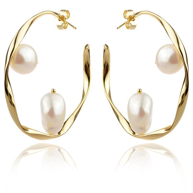 сребърни обеци, перла Барок, жълта позлата, обеци тип халка, подходящи за повод