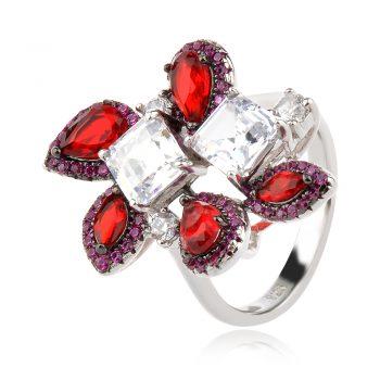 елегантен сребърен пръстен, цветен и бял циркон, родиево покритие,