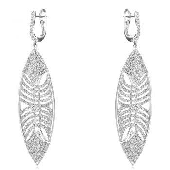 луксозни сребърни обеци, цирконии, родиево покритие, абстрактна форма,