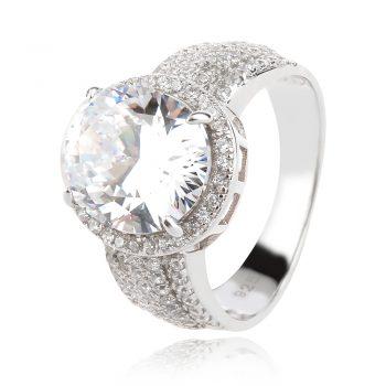 елегантен сребърен пръстен, цирконии, родиево покритие, блясък,