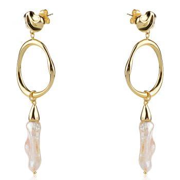висящи сребърни обеци, перла Барок, жълта позлата, подходящи за повод