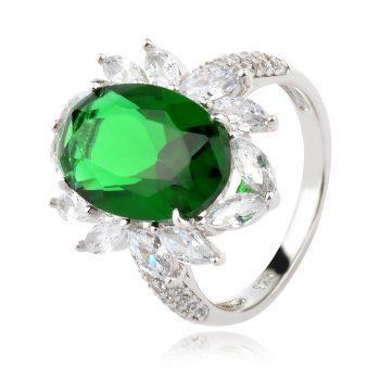 елегантен сребърен пръстен, бял и зелен циркон, родиево покритие, подходящ за официален повод