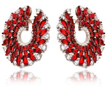 луксозни сребърни обеци, червен и бял циркон, родиево покритие, походящи за повод