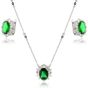 елегантен сребърен комплект, бял и зелен циркон , родиево покритие, подходящ за официален повод