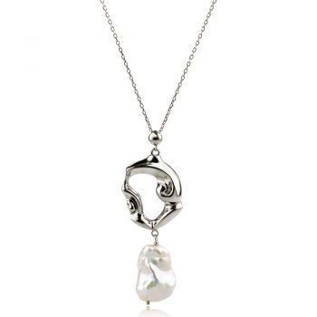 атрактивен сребърен медальон, перла Барок, родиево покритие, подходящо за повод