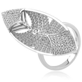 луксозен сребърен пръстен, абстрактна форма, цирконии, родиево покритие,