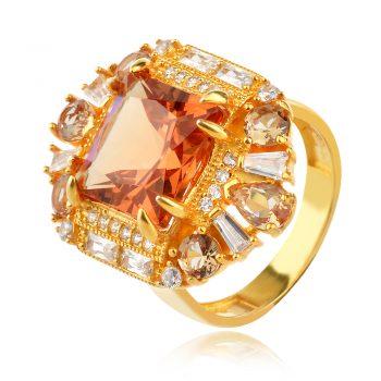 елегантен сребърен пръстен, султанит, квадратна форма, цирконии, жълта позлата,