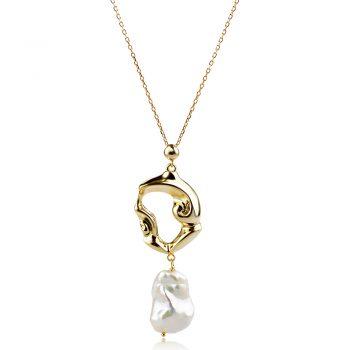 атрактивен сребърен медальон, перла Барок, жълта позлата, подходящ за повод