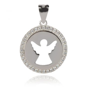 нежен сребърен медальон, ангел, цирконии, родиево покритие,