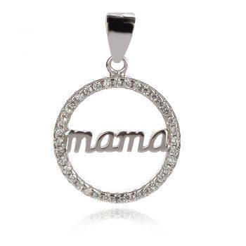 сребърен медальон, мама, цирконии, родиево покритие,