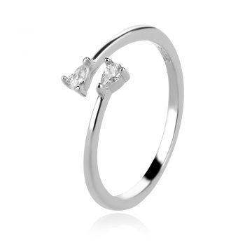 нежен сребърен пръстен, цирконии, родиево покритие,