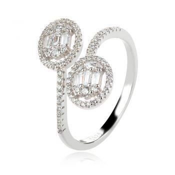 сребърен пръстен, цирконии, циркон багета, родиево покритие,