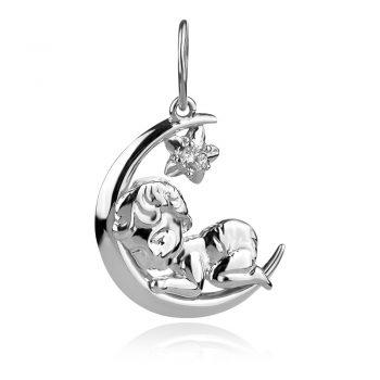 нежен сребърен медальон, луна, звезда, дете, цирконии, родиево покритие