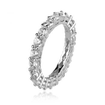 сребърен пръстен, тип халка, блясък, цирконии, родиево покритие,