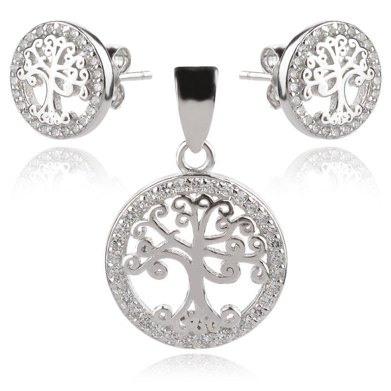 нежен сребърен комплект, дървото на живота, цирконии, родиево покритие,