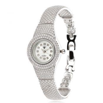 луксозен сребърен часовник, твърда гривна, твърда гривна, цирконии, блясък,