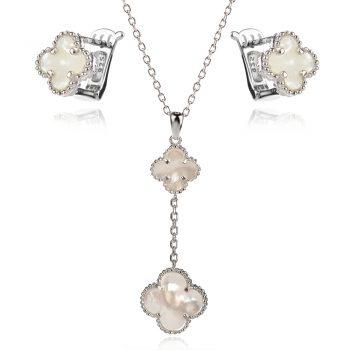 елегантен сребърен комплект, бял седеф, цвете, родиево покритие,