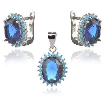 сребърен комплект със син камък