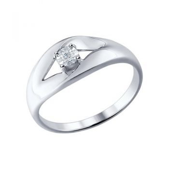 сребърен пръстен, диамант, пръстен тип халка, родиево покритие, sokolov,