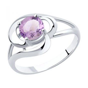 сребърен пръстен, аметист, родиево покритие, sokolov,