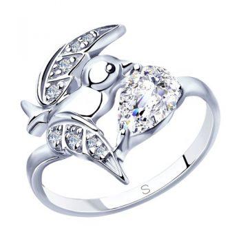 нежен сребърен пръстен, птиче, цирконии, родиево покритие, sokolov,