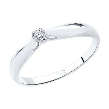 сребърен пръстен, диамант, родиево покритие, sokolov, годежен